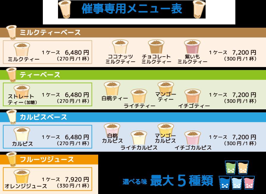 文化祭専用メニュー表